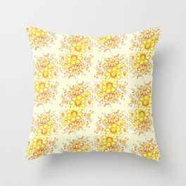 Faded Flowers Pattern Throw Pillow