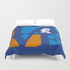 Robot LOVE - Blue Duvet Cover