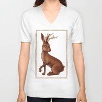 jackalope V-neck T-shirts featuring Jackalope by Sarah DC