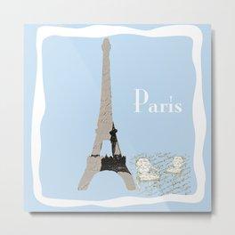 Paris in Powder Blue Metal Print