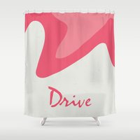 movie poster Shower Curtains featuring Drive - Movie Poster by ahutchabove