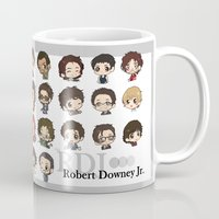 robert downey jr Mugs featuring Robert Downey Jr. by Lady Cibia
