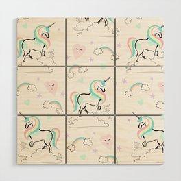 Standing tall Unicorn on cloud and heart pattern Wood Wall Art