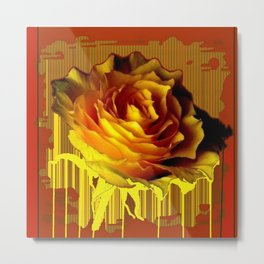 Yellow Rose of Texas Western Style Modern Abstract Metal Print