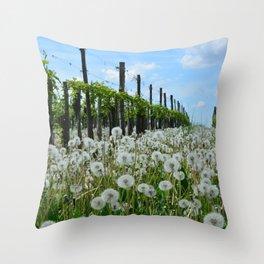 Dandelions Growing Between The Vines Throw Pillow