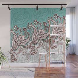 mint paisley inclined Wall Mural