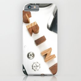 Grind # 2 // Exploded View Espresso Coffee Grinder Wood Block Typography Lettering Photograph iPhone Case