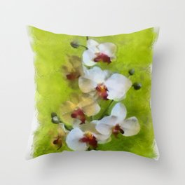 White Orchid on Green background Throw Pillow