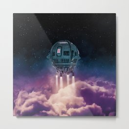 Out of the atmosphere / 3D render of spaceship rising above clouds Metal Print