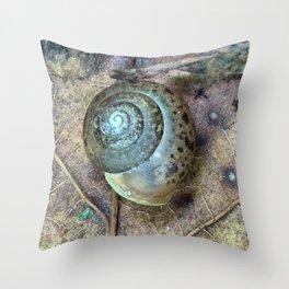 Snail Shell on an Oak Leaf Throw Pillow