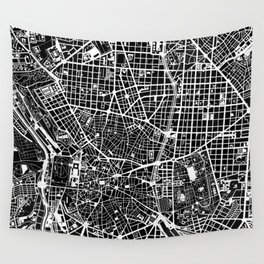 Madrid city map black&white Wall Tapestry