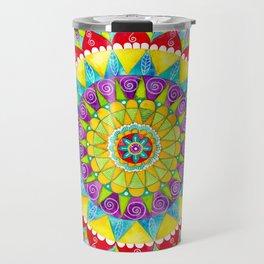 Mandala of Many Colors on Turquoise Travel Mug