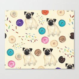 Pugs and donuts sweet sprinkles Canvas Print