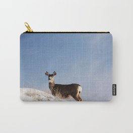 Deer Prancing Among  Snow Covered Hills Colored Wall Art Print Carry-All Pouch