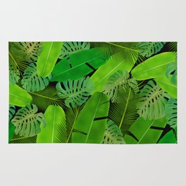 Mix Tropical Leafs mashup pattern Rug