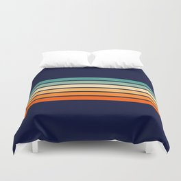 Marynda - Classic Colorful 70s Vintage Style Retro Summer Stripes Duvet Cover