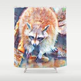 Aquarell Raccoon Shower Curtain