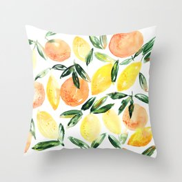 Sicilian orchard: lemons and oranges in watercolor, summer citrus Throw Pillow