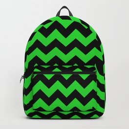 Large Black and Bright Monster Green Halloween Chevron Stripes Backpack