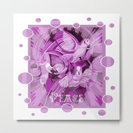 Dove With Celtic Peace Text In Pink Purple Tones Metal Print