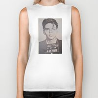 frank sinatra Biker Tanks featuring Frank Sinatra Mugshot (Front)  by All Surfaces Design