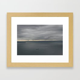 taken from the Space Needle in Seattle of the ocean view with an amazing sky Framed Art Print