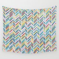 herringbone Wall Tapestries featuring Herringbone Colour by Project M
