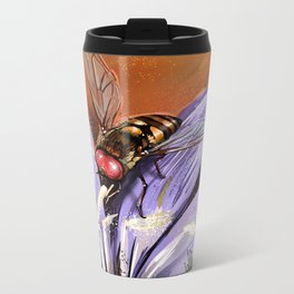 Fly on flower 10 Metal Travel Mug