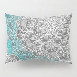 Turquoise & White Mandalas on Grey Pillow Sham