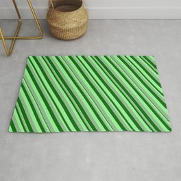 Dark Sea Green, Dark Green & Green Colored Lines/Stripes Pattern Rug
