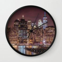 NEW YORK CITY Nightly Impressions | slim panoramic Wall Clock