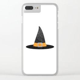 Glitter Witch Hat Clear iPhone Case