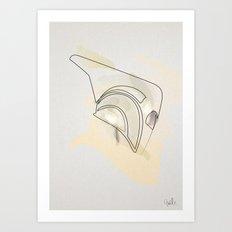 one line helmet:Rocketeer Art Print