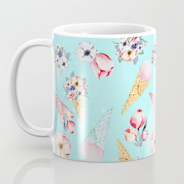 Pink & Teal Summer Fun Flower Ice Cream Cone - Pattern Coffee Mug