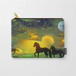 Awakening, Mysterious mixed media art with horses Carry-All Pouch