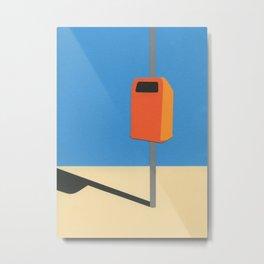 Orange Trash Can Metal Print