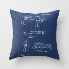 Fishing Lure Vintage Patent Hand Drawing Throw Pillow