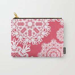 Flurries on Coral Carry-All Pouch