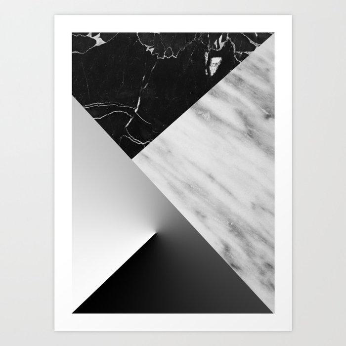 Monochromatic Marble Collage  Art Print