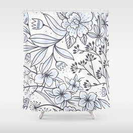 Seamless Floral Blossom Pattern Shower Curtain
