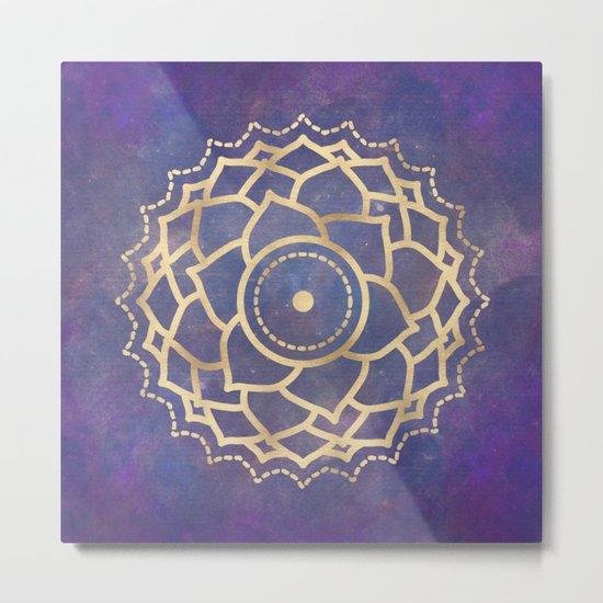 Mandala Chakra Copper and Purple Crown Chakra Metal Print