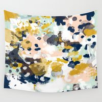 beach Wall Tapestries featuring Sloane - Abstract painting in modern fresh colors navy, mint, blush, cream, white, and gold by CharlotteWinter