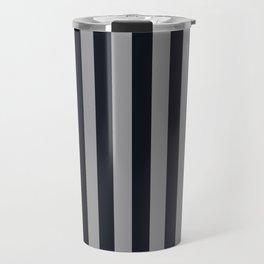 Vertical Stripes Black & Cool Gray Travel Mug