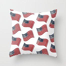 USA Flags Throw Pillow