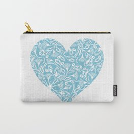 Blue and White Floral Heart Carry-All Pouch