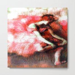 The Dancer by Edgar Degas Coral Red Metal Print