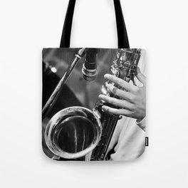 Jazz and Saxophone Tote Bag