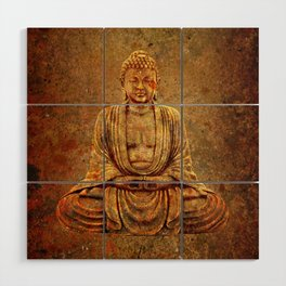 Sand Stone Sitting Buddha Wood Wall Art