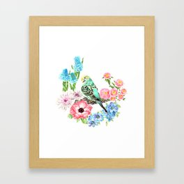 Budgies and Blooms Framed Art Print