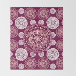 Berry and Bright Patterned Mandalas Throw Blanket